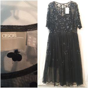 Asos Navy Sequin Beaded Gown
